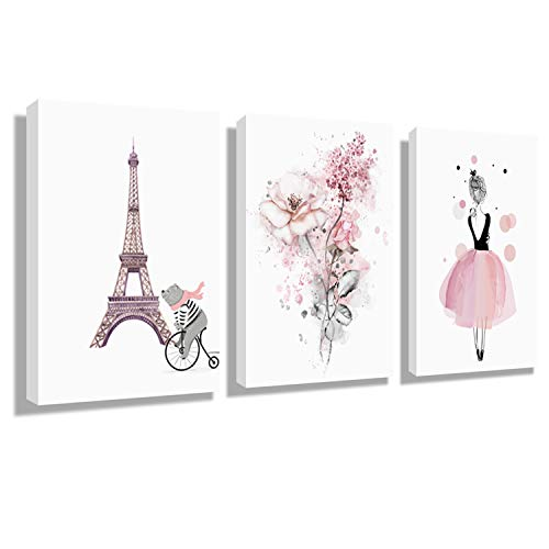 Wall Art Eiffel Tower for Decor Girls Pink Theme Room - Paris Theme Room Murals Hanging Paintings Decor Art Wall Home Decoration Painting 12x16Inch x 3Panel