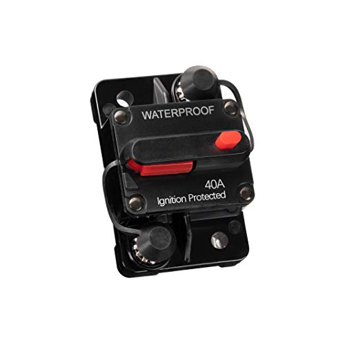 Allkpoper 30A-300A Premium High-Current Circuit Breakers, Amp Breaker with Fuse Manual Reset Switch Waterproof for Boat Marine RV Yacht Battery Trailer Bus Truck, 12-48V DC (40A)