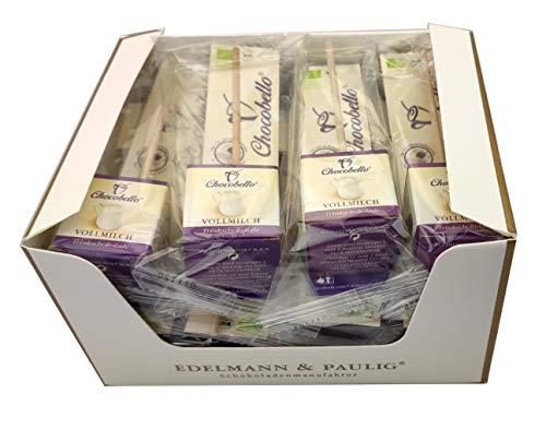 12 x CHOCOBELLO | VOLLMILCH | Trinkschokolade am Stiel | Bio | Box mit 12 Schokoladen-Würfel am Holzsitel | von EDELMANN & PAULIG