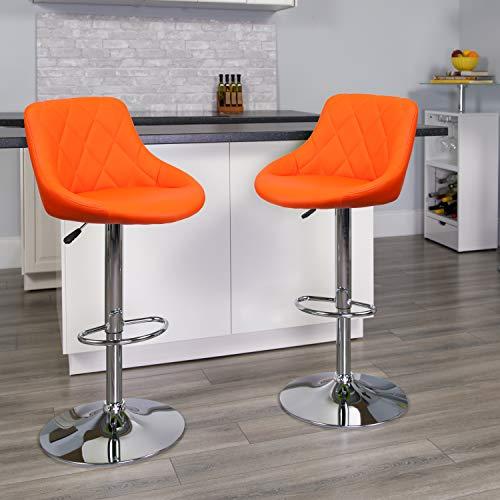 Flash Furniture 2 Pk. Contemporary Orange Vinyl Bucket Seat Adjustable Height Barstool Chrome Base