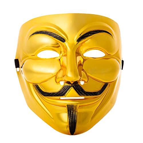 Ultra Dorado Adultos Guy Fawkes Mascara Hacker Anónima V de Vendetta Halloween Disfrace Disfraz Calidad con Correa Niños Elegante (5)