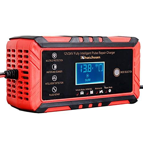 RROWER 8-Amp Coche Cargador de batería, 12V y 24V Inteligente Completamente automático Cargador de batería Mantenedor Trickle Cargador para el Carro del Coche de la Motocicleta