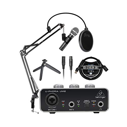 Audio-Technica ATR2100X-USB Cardioid Dynamic Microphone (ATR Series) Bundle with Behringer U-PHORIA UM2 Audio Interface for Windows & Mac, Blucoil 3' USB Extension Cable, and Boom Arm Plus Pop Filter