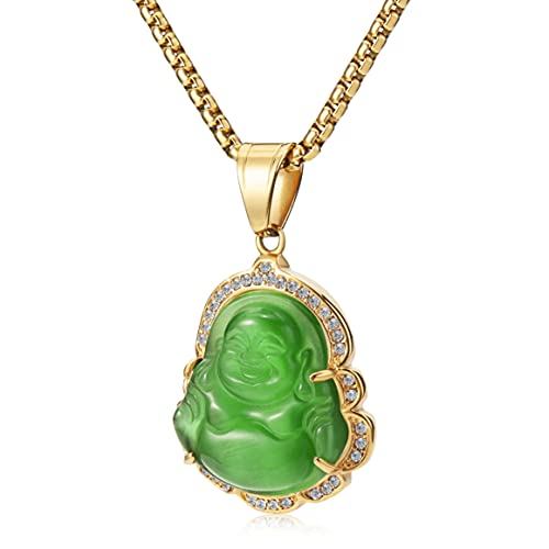 WESTMIAJW Bling Lucky Green Buddha Pendant Chain Necklaces Amulet Jewelry for Men Women Boys 60cm