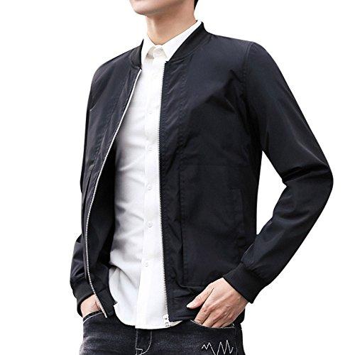 DINGQU Men's Casual Bomber Jacket Softshell Sportswear Lightweight Slim Jacket Coat (X-Small, Black)