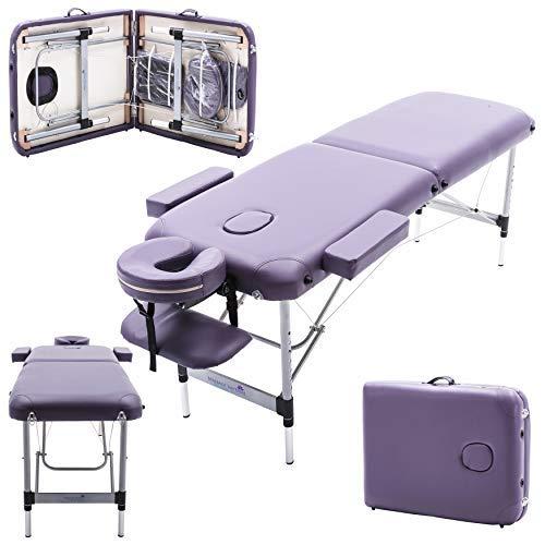 Massage Imperial® - tragbare Massageliege Knightsbridge - Violett Lila - Aluminium - 10 kg - 5 cm Schaumstoff - Gesichtskissen enthält 7 cm Schaumstoff