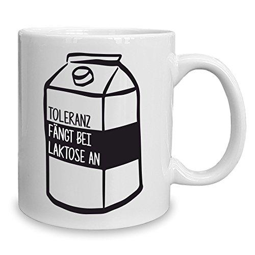 Shirt Department - Kaffeebecher - Toleranz fängt bei Laktose an - Tasse 320 ml Weiss-schwarz