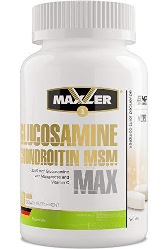 Maxler Glucosamin Chondroitin hochdosiert MSM Kapseln - Arthrosamin Gelenkkapseln hochdosiert - Glucosamin Chondroitin Nahrungsergänzungsmittel - mit Vitamin C, Bromelain, Mangan - 90 Tabletten