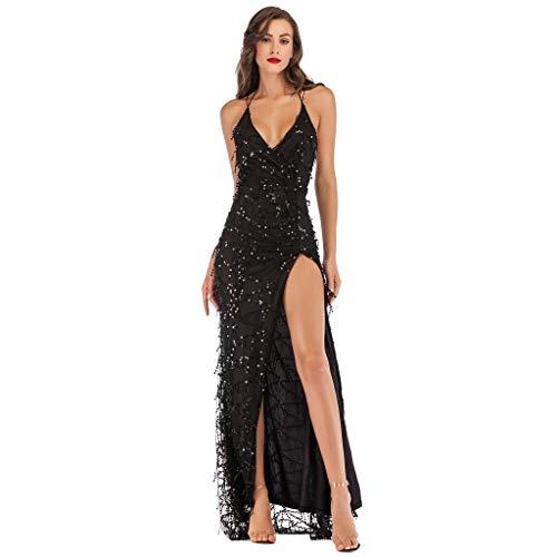 iYmitz Damen V-Ausschnitt Maxi Pailletten Halfter Rückenfrei A-Linie Frauen Split Cocktail Abendkleid Kleid Printkeid Cocktailkleid