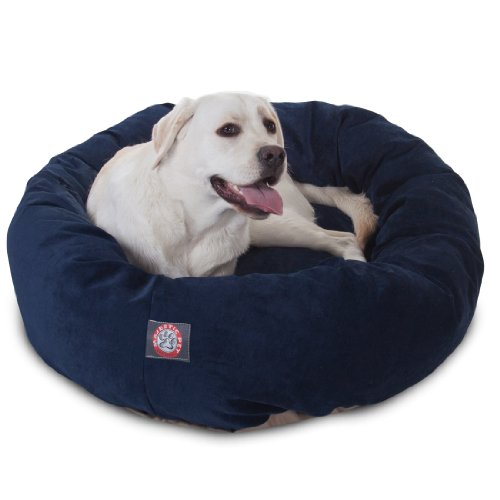 40 inch Navy Villa Collection Micro Velvet Bagel Dog Bed By Majestic Pet Products