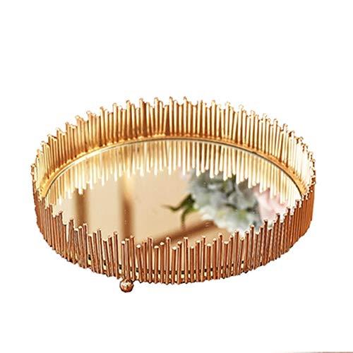 CuteLife Bandeja Decorativa Bandeja de Metal Espejo de Cocina Mesa de la decoración del hogar Placa del Desayuno para Joyería de Maquillaje (Color : Gold, Size : 35cm in Diameter)