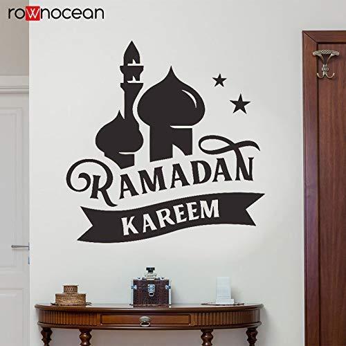 Wandaufkleber Kunst Arabisch Persisch Islam Skyline Ramadan Kareem Moschee Türkischer Palast Mond Stern Mond Mond Schloss Schlafzimmer Wandbild 58X60Cm