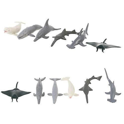 BESPORTBLE Juego de 6 juegos de animales marinos realistas realistas del océano de animales salvajes Ballena Modelo foto Prop Pez Marino Aprendizaje Juguete educativo para niños
