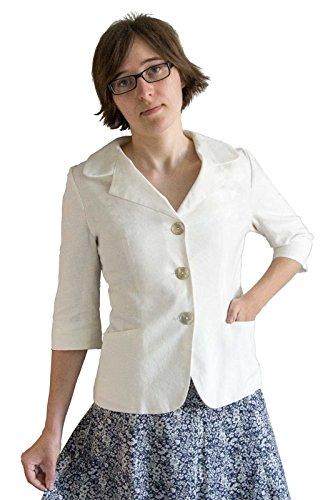 Kurzarm-Blazer aus weißem Leinen mit Baumwolle (M (40))