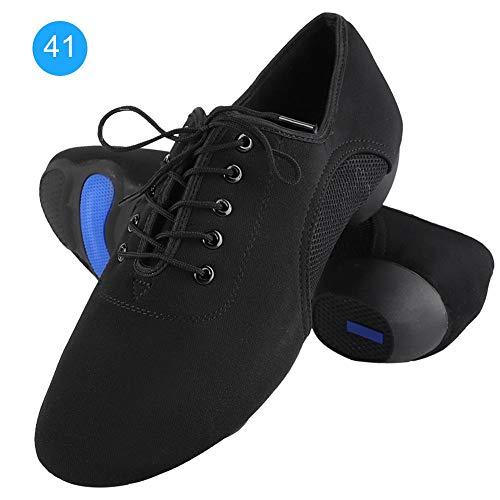 Jazz buty do tańca, dla mężczyzn i kobiet, miękkie i wygodne buty latinowe, do sali balowej, nowoczesne buty do tańca, uniseks, czarny - czarny - 43 EU