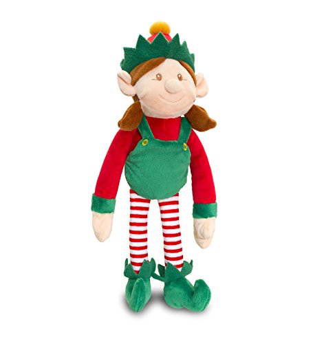 25 centimetri elf girl morbido peluche vestito di rosso e verde con Rattle - Natale Stocking Fillers