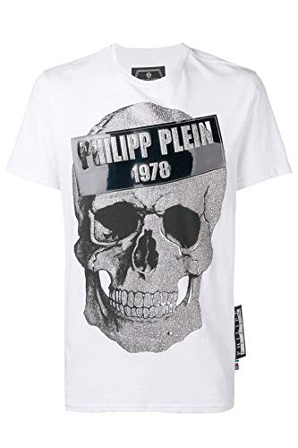 Philipp Plein Herren T-Shirt - Platinum Cut - Totenkopf - Weiß (XXL)
