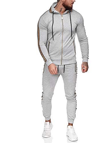 OneRedox | Herren Trainingsanzug | Jogginganzug | Sportanzug | Jogging Anzug | Hoodie-Sporthose | Jogging-Anzug | Trainings-Anzug | Jogging-Hose | Modell JG-1424 Grau S