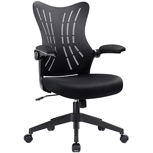 Furmax Office Desk Chair with Flip Up Arms, Mesh Mid Back Computer Chair Swivel Task Chair with Ergonomic Lumbar Support (Black)