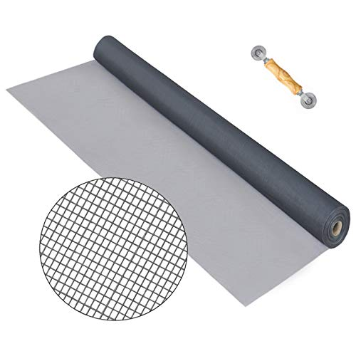 Senneny Standard Window Screen Roll 39' x 100ft – Fiberglass Screen Mesh Roll, Anti Mosquito Bug Insect Screen Replacement Mesh for Windows Doors and Patio Screens, Gray