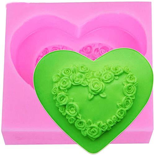 S039 3D une technologie de roses d'amour de coeur de chocolat moule de savon moule en silicone savon bougie moule pas cher 7,2 * 6,5 * 2,5 cm