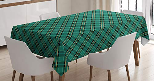 Ambesonne Celtic Green Tablecloth, Classical Tartan Diagonal Lines Arrangement Plaid Print, Rectangular Table Cover for Dining Room Kitchen Decor, 60' X 90', Teal Yellow