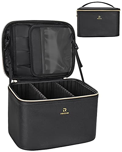 Makeup Case Vertical Cosmetic Bag Train Case Makeup Brush Holder Organizer Travel Bag Leather Water Resistant for Women and Girls (Small, Black)