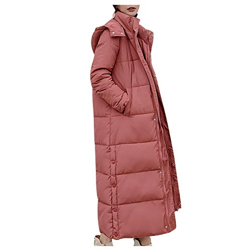 KaloryWee Damen Slim Daunenjacke mit Kapuze Parka Wintermantel Knielänge Outdoor Kälteschutz Einfarbig mit Reißverschluss Winterjacke