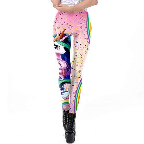 SWEETQT Hembra Yoga Mallas Pantalones Deportivos Leggings Mujer Yoga De Alta Cintura Elásticos Transpirables para Yoga Running Fitness con Elásticos Actividades De Interior Unicornio XL