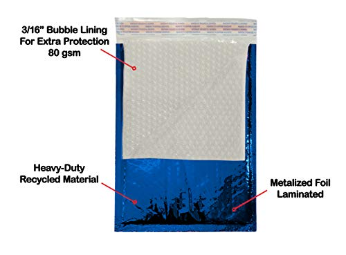 Amiff Bubble mailers 5x9. Padded envelopes 5 x 9. Exterior size 6x10 (6 x 10). Peel & Seal. Glamour Metallic foil. Pack of 25 Blue cushion envelopes. Mailing, shipping, packing, packaging Photo #8