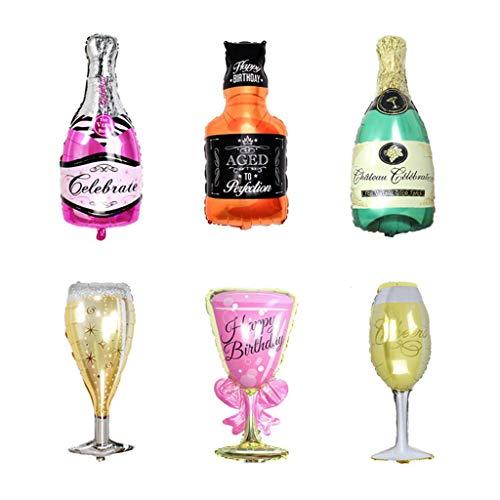 Viesky 6 Pack Party grote folie ballonnen - Champagne en Whiskey flessen met Goblet Gla