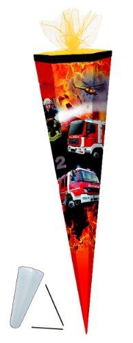 Schultüte - Feuerwehr 85 cm - mit Tüllabschluß - mit / ohne Kunststoff Spitze - Zuckertüte Jungen Auto Autos Fahrzeug Helikopter
