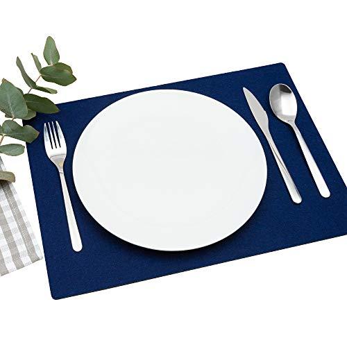 FILU Platzsets aus Filz 4er-Pack Dunkelblau eckig (Farbe und Form wählbar) 30 x 41 cm – Tischset für drinnen und draußen Deko für Esstisch im Wohnzimmer, Gartentisch/Balkontisch