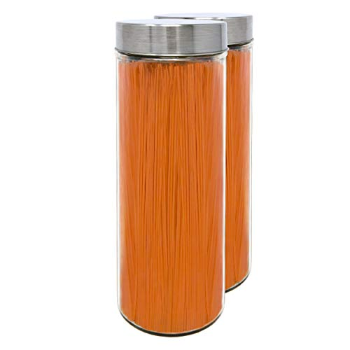 Pack 2 Bocaux en Verre, 1,75 L (30,5x10 cm), avec Couvercle Fileté en Acier Inoxydable.