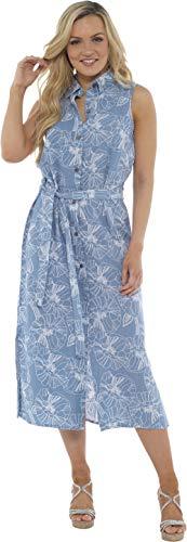 CityComfort Damen Sommer Leinen ärmelloses langes Hemdkleid | Knopf durch Tunika mit passendem Gürtel | Petite Bis Plus Kleider Größe Damenmode Erhältlich (46, Blaue Blumen)