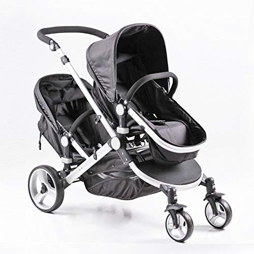 QTbabies Twin Double Stroller Pushchair for Toddlers and Newborn   Carry Cot & Seat   Lightweight Folding Buggy Travel System with 5 Point Adjustable Safety Harness (Black)