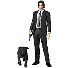 A Medicom import Depicts John Wick as he appears in Chapter 2 Includes four firearms Pit Bull companion Two heads, display stand, and accessories