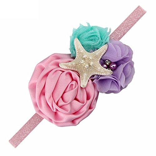 YanJie Aqua Lavender Glitter Starfish Mermaid Headband for Baby Birthday Gift (M, Pink)