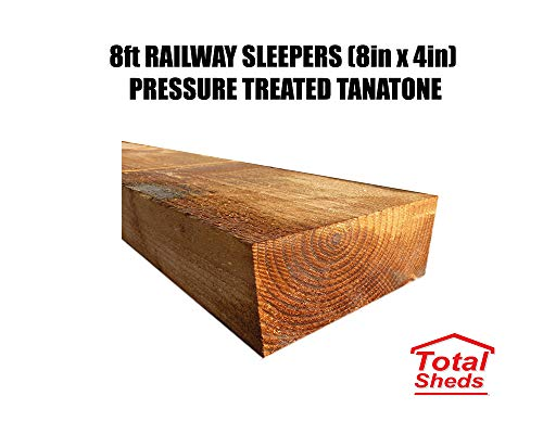 Total Sheds Railway Sleepers 8ft x 8ins x 4ins Pressure Treated PACK OF x10 (200mm x 100mm x 2400mm)