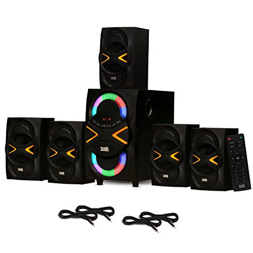 Acoustic Audio AA5210 Home Theater 5.1 Speaker System with Bluetooth, LED Lights, FM and 4 Extension Cables