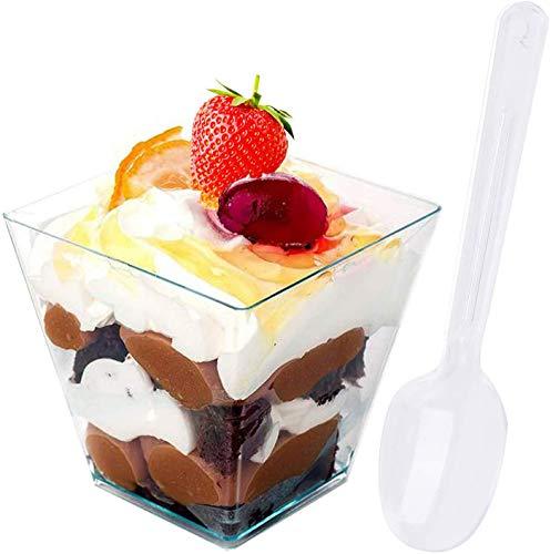 Gxhong 50 Stück Desserttassen, 2 OZ 60ML Desserttassen aus Kunststoff mit 50 Stück Suppenlöffel, Wiederverwendbar Plastik Dessertbecher für Mousse Pudding Eiscreme Food Dessert Party