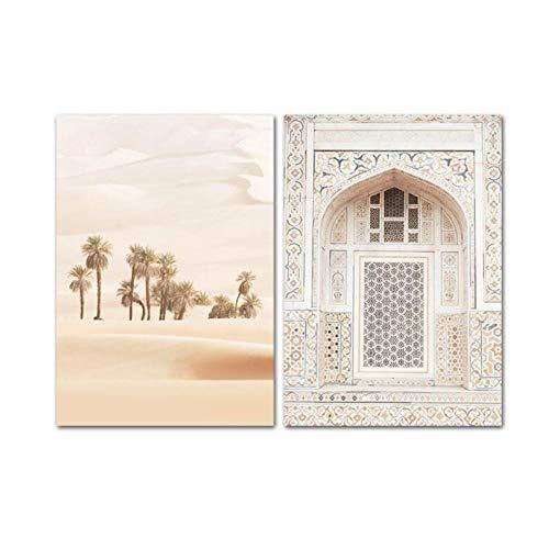 Mulmf De Boheemse Ark Vintage Poster Woestijn Landschap Canvas Art Print Muurschildering Moderne Woonkamer Decoratie - 50X70Cmx2/Unframed