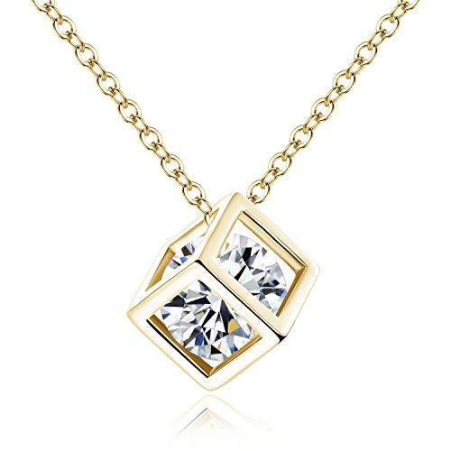 YAZILIND Collar Pendiente de la Forma Cubo Amor Diamante de Las Mujeres con los Elementos de Zirconia c¨²bicos Plate¨ el Oro del Regalo de la joyer¨ªa de Las Mujeres del Oro