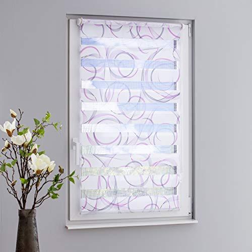 DECOLIA Klemmfix-Duorollo/Doppelrollo Swing Bedruckt mit verstellbaren Klemmträgern, Breite/Höhe: 45 x 150 cm, Farbe: grau/Fuchsia