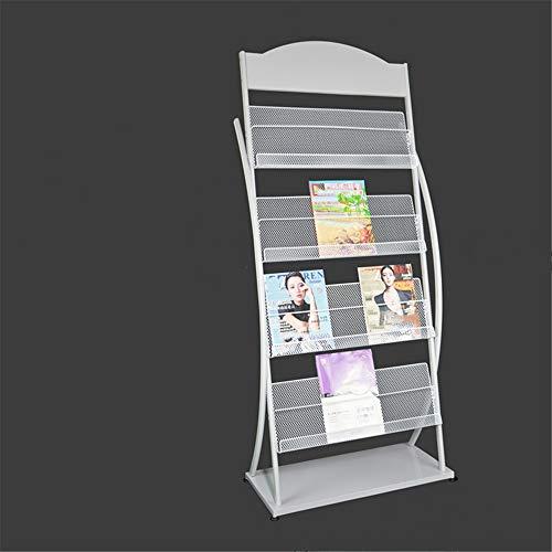 Yhjkvl Soporte para Revistas Red del Metal Suelo Magazine Rack Curva folleto Dispensador portátil Suelo Folleto de información del Soporte de exhibición Blanco Negro 157x34x68cm Expositor de Revistas
