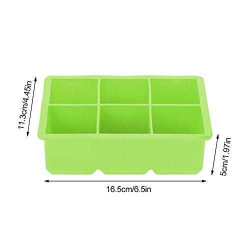 Moules à glaçons carrés en silicone, grand format, cubes de 2 pouces x 6, multifonctionnels, 5 couleurs à choisir(green)