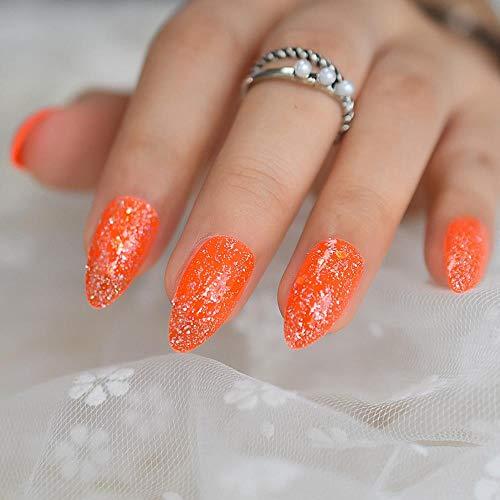 chenche Ongles Autocollants pour Les Filles Orange Flash Talons Hauts Faux Ongles Neon Light Medium Press Ongles Technique Transparente Couverture complète 24