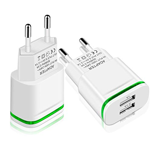 LUOATIP Cargador USB, 2 Paquetes USB Corriente Enchufe Charge de Pared 2.1A / 5V Fuentes Dobles para iPhone XS MAX XR X 8/7/6S Plus, Samsung Galaxy/Note S8+/7 LG 6/5, iPad 4/3/2 Air Mini Pod, Xiaomi