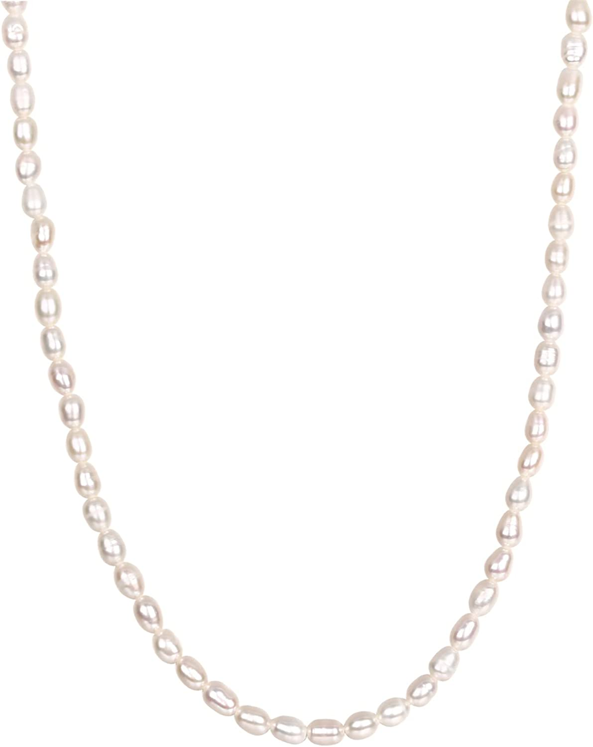 PAVOI 14K Gold Plated Freshwater Pearl Necklace for Women | 14K Yellow Gold Plated Necklace for Women | 4mm Polished Shell Pearl Necklace for Women | 16