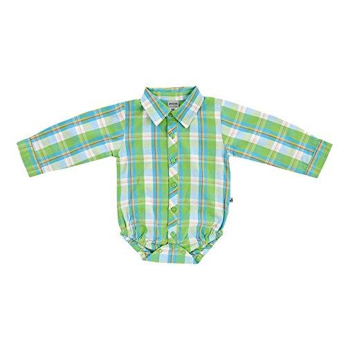 JACKY Baby Serie 'Busy Bugs' Body-Hemd Langarm Jeans-Hose Latzhose (62, Bodyhemd karo grün)